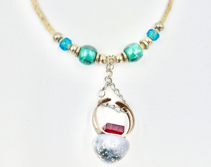 Beachy Teal and Tan Pendant Necklace