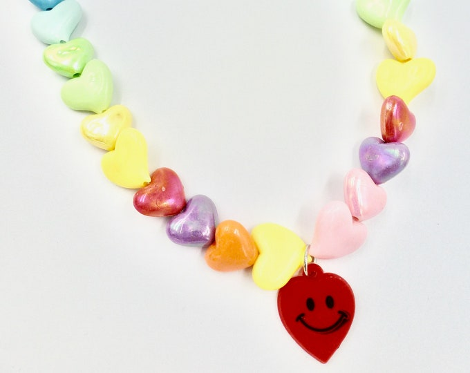 Heart Smiley Face Beaded Necklace