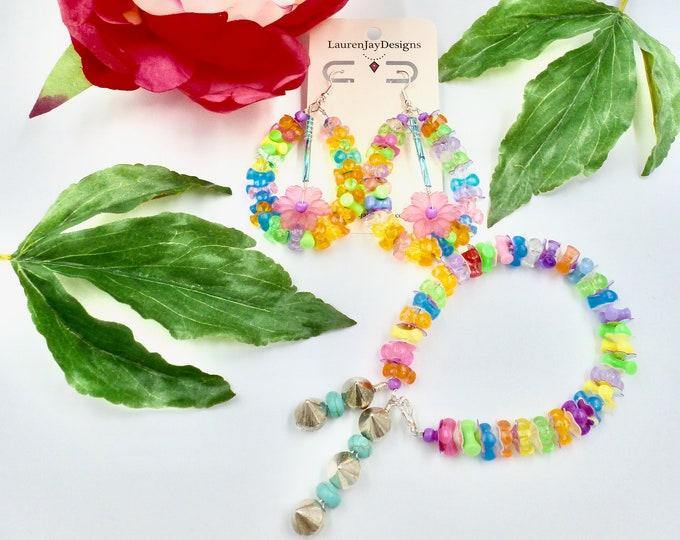 Jewellery Sets, Beaded Bracelets, Dangle Earring, Floral Jewellery, Spike Bracelets, Colourful Jewellery, Jewellery Gifts, Mothers Day Gift