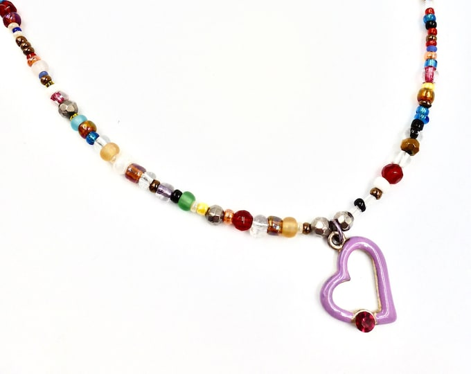 Purple Heart Pendant Beaded Necklace