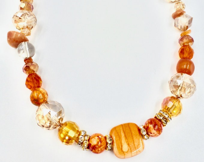 Orange Crystal Beaded Necklace
