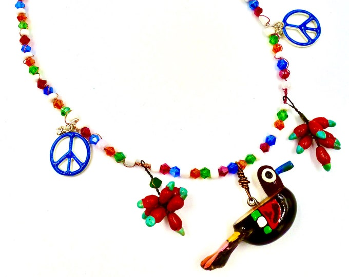 Peace Bird Beaded Necklace