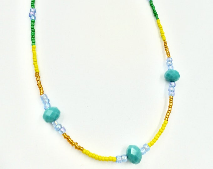 Green, Yellow, Gold and Blue Mask Chain