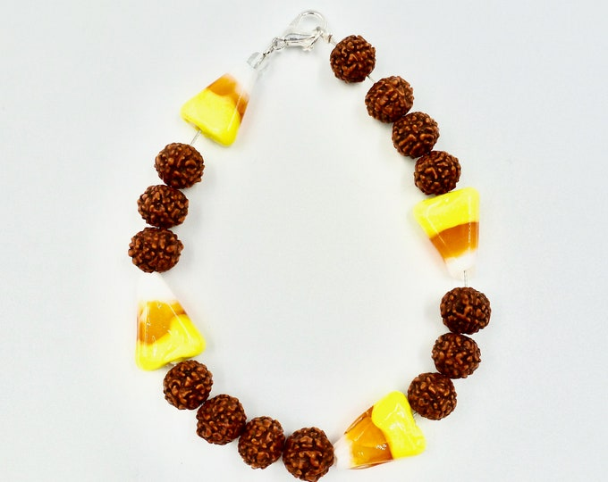 Candy-Corn and Pinecones Beaded Bracelet