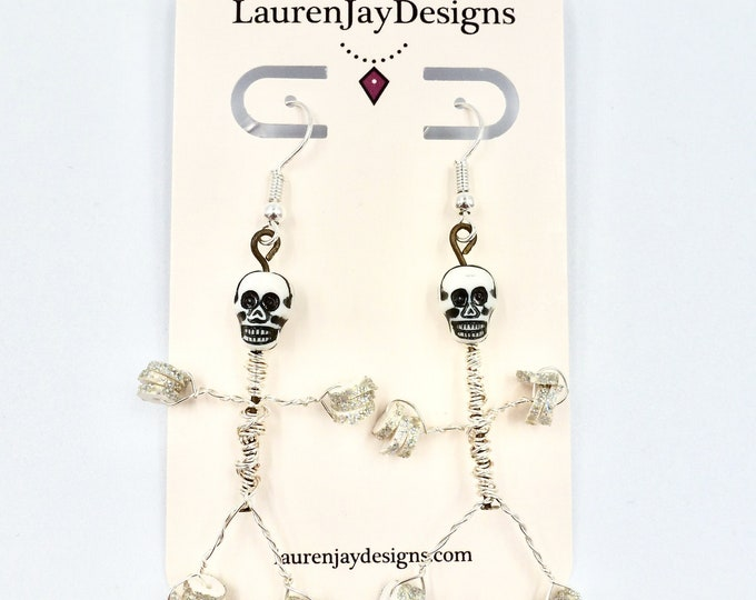 Wire Wrapped Silver Skull and Skeleton Man Dangle Earrings by Lauren Jay Designs