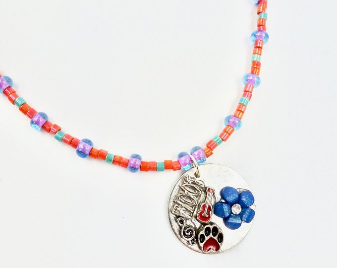Floral, Musical and Puppy Memory Pendant Beaded Necklace