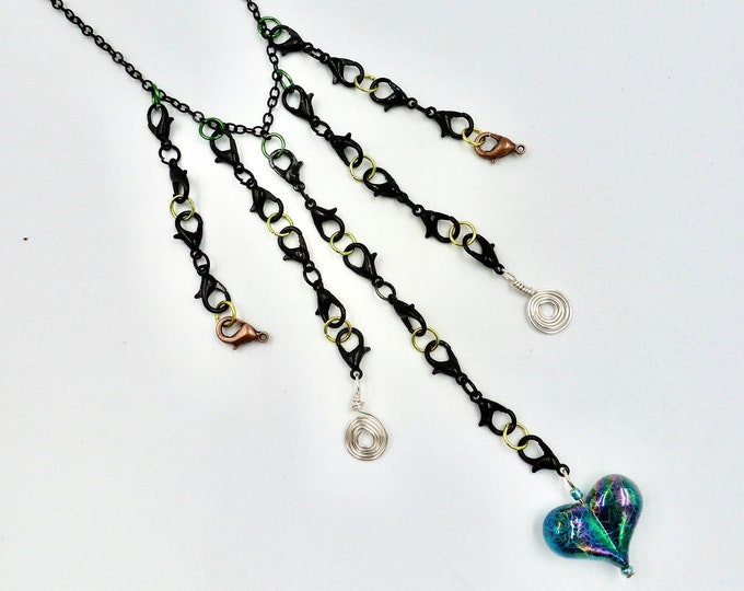 Teal Heart Black Clasp Chain Necklace
