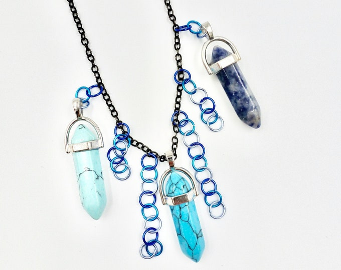 Blue Marble Crystal Chain Necklace