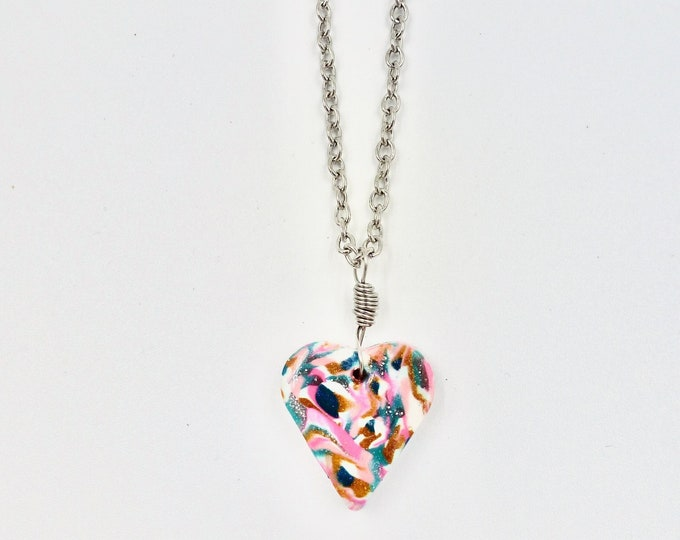 Colourful Polymer Clay Heart Pendant Silver Chain Necklace