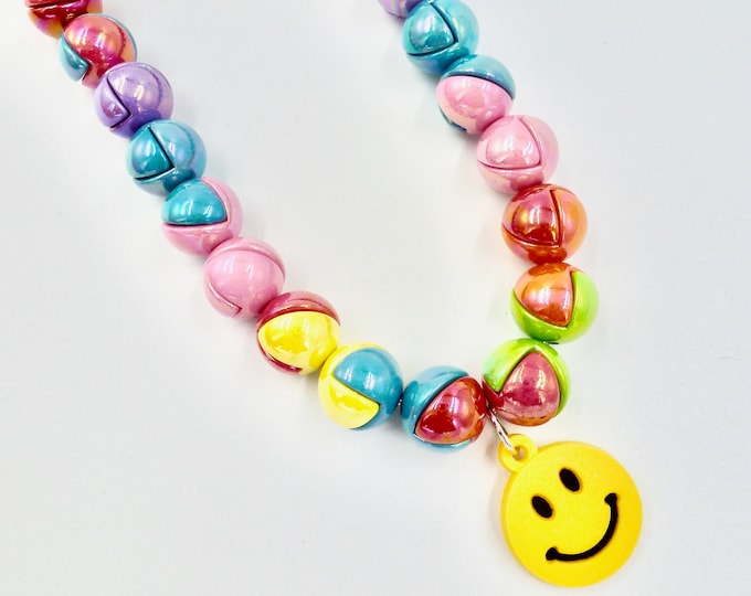 Smiley Face Pendant Beaded Necklace