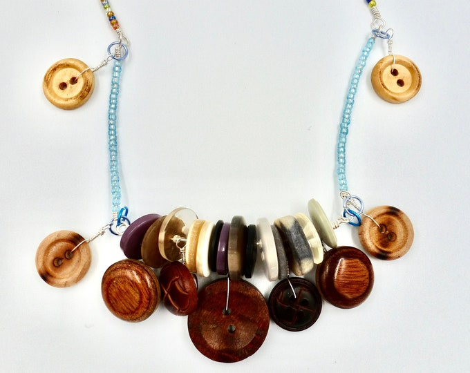Button Pendant Colourful Beaded Necklace