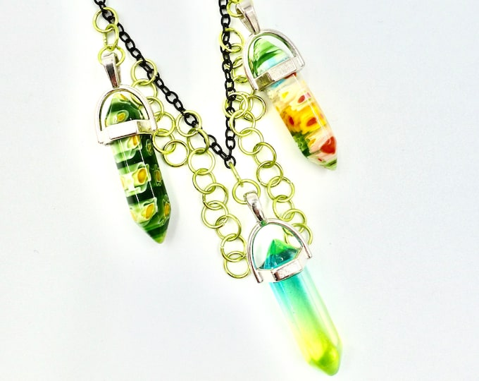 Green Crystal Chain Necklace
