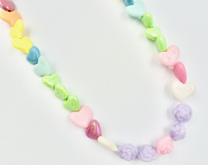Floral and Hearts Beaded Necklace
