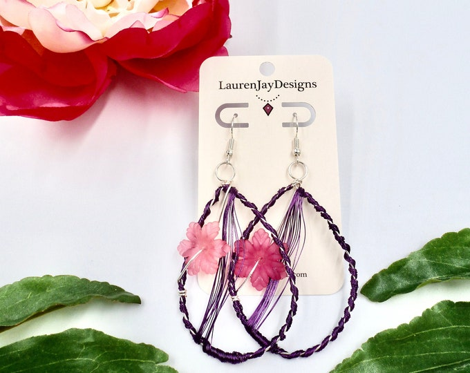 Colourful Floral Wire Wrapped Dangle Earrings