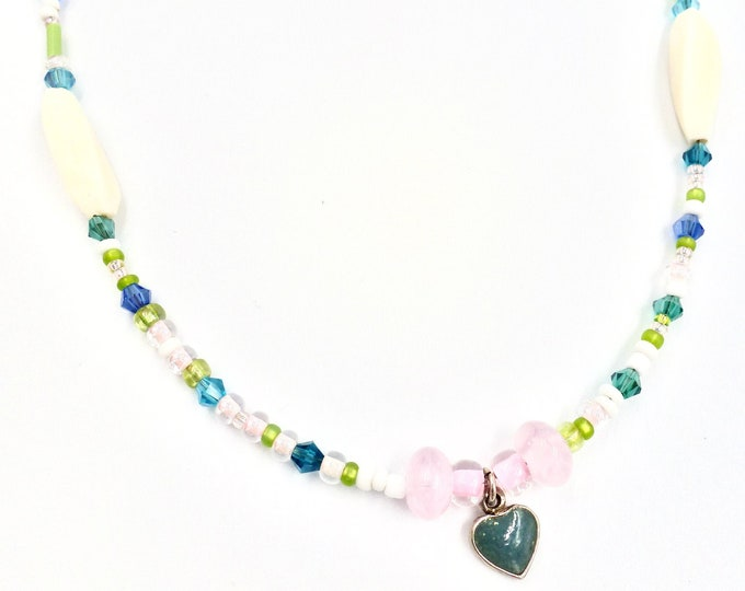 Blue Heart Pendant Beaded Necklace
