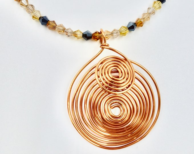 Large Cooper Spiral Beaded Necklace