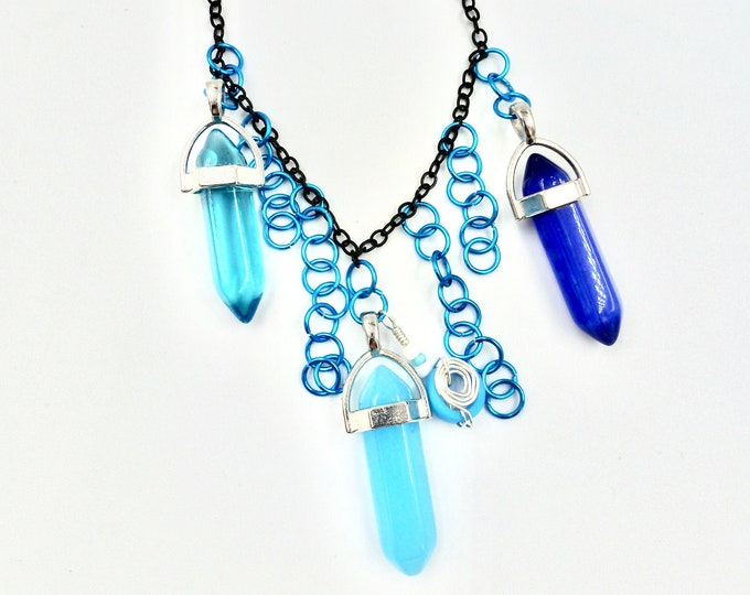 3 Blue Crystal Chain Necklace