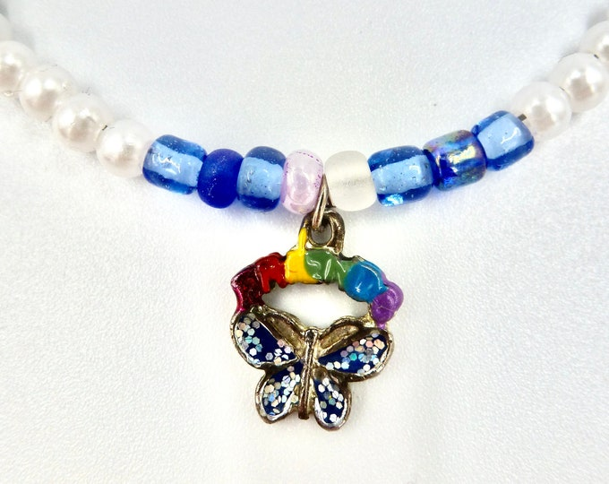Rainbow Butterfly Pendant Beaded Necklace