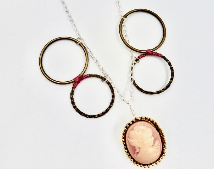 Pink Cameo Chain Necklace