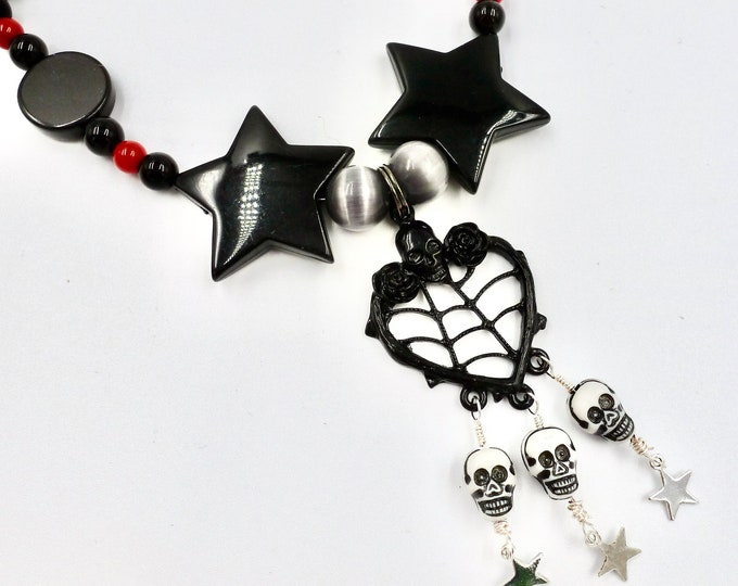 Halloween Skull Web Pendant Black and Red Beaded Necklace by Lauren Jay Designs