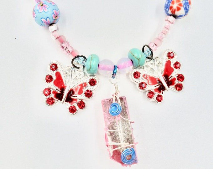 Red Butterfly and Stone Pendant Beaded Necklace
