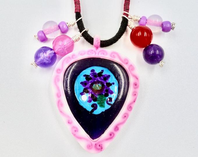Purple Guitar Pick Necklace