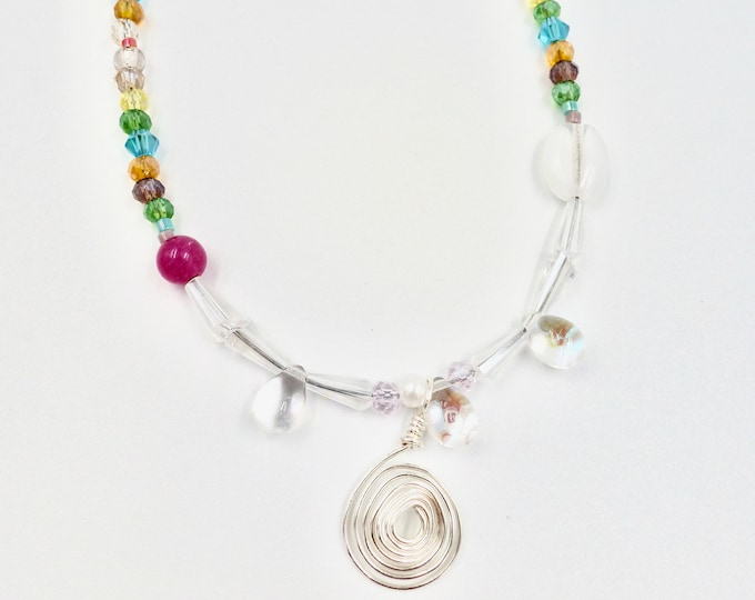 Spiral Pendant Beaded Necklace