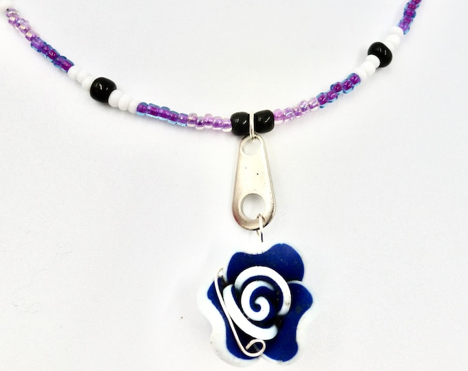 Blue Flower Necklaces, Beaded Necklaces, Purple Necklaces, Floral Necklaces, Colourful Necklaces, Birthday Gifts, Jewellery Gifts, Fun Gifts