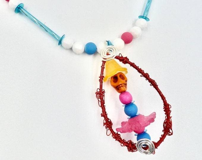 Pink and Blue Skull Character Red Wire Wrapped Pendant Beaded Necklace