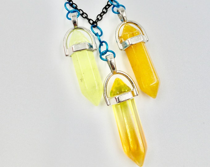 Yellow and Orange Shine Crystal Chain Necklaces