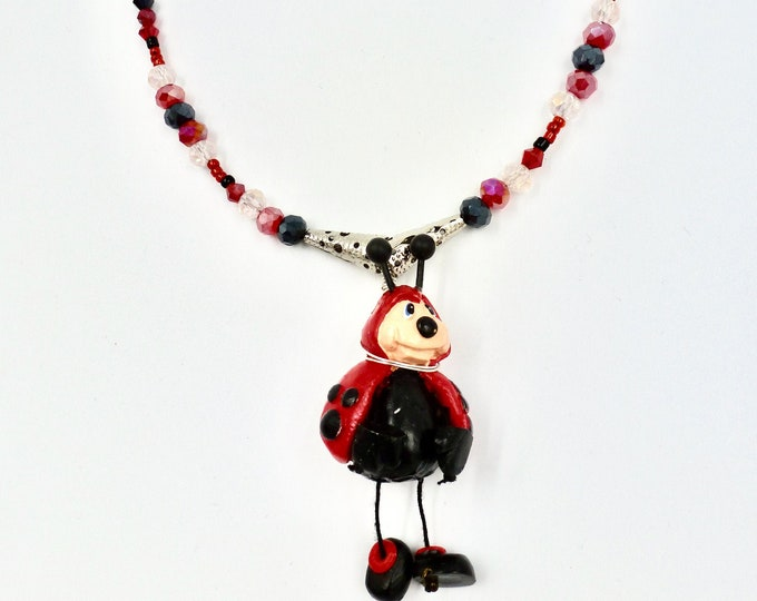 Ladybug Necklaces, Beaded Necklaces, Red Necklaces, Ladybug Pin Pendant, Black Necklaces, Birthday Gifts, Jewellery Gifts, Mothers Day Gift