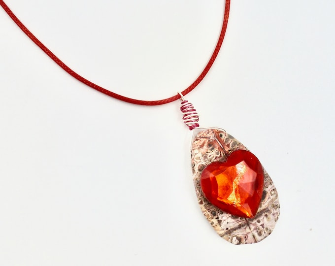 Red Stone Heart Cord Necklace