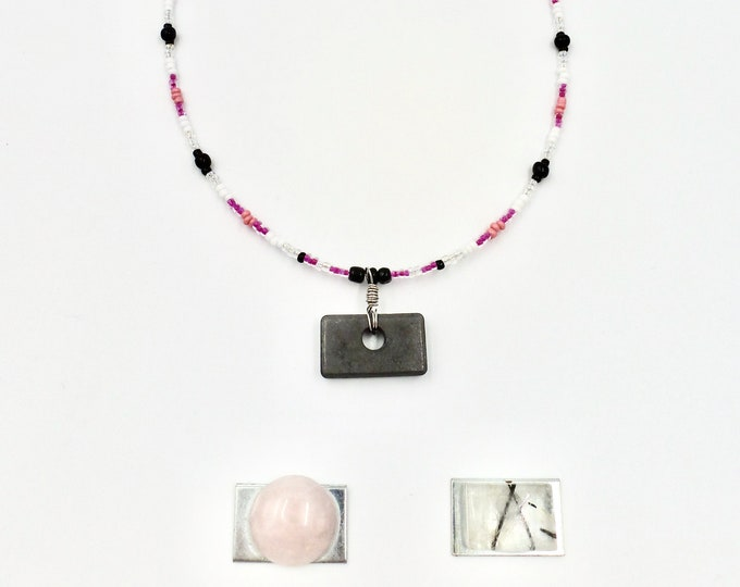 Gemstone Necklaces, Interchangeable Pendants, Beaded Necklaces, Pendant Necklaces, Pink Necklaces, Jewellery Gifts, Birthday Gifts, Fun Gift