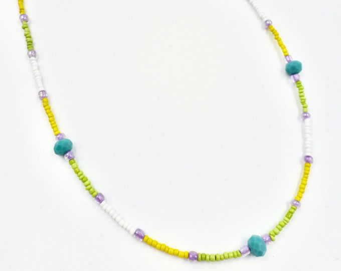 Yellow, Green, Purple and Teal Mask Chain