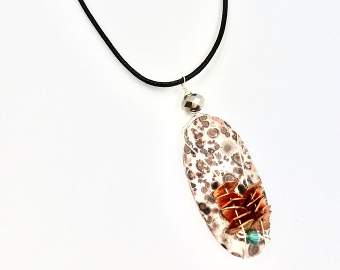 Copper Beaded Stone Pendant Cord Necklace