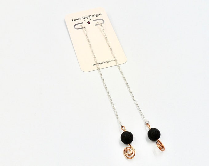 Extra Long Chain and Lava Stone Dangle Earrings
