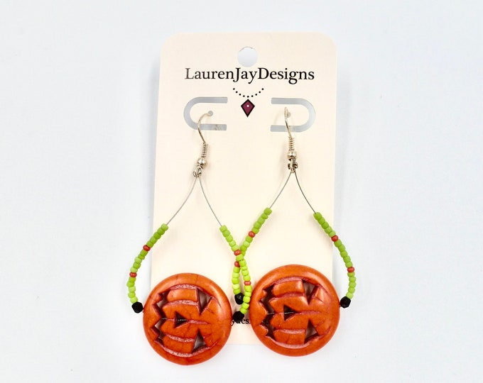 Halloween Jack-O-Lantern Beaded Dangle Earrings