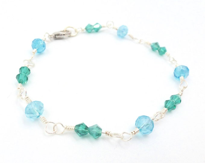 Blue and Teal Beaded Link Bracelet