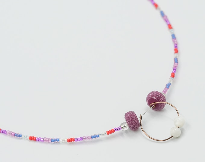 Purple, Pink and Orange Beaded Necklace