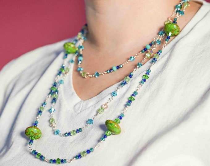 3 Strand Blue and Green Beaded Necklace