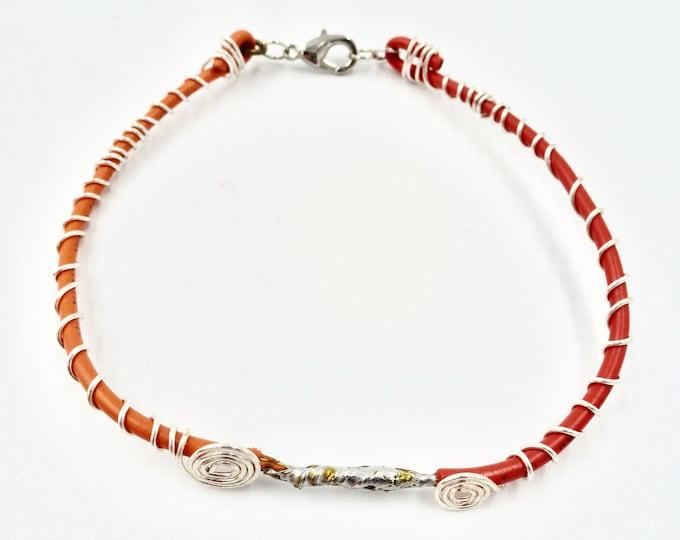 Wire Bracelets, Spiral Bracelets, Silver Bracelets, Orange Bracelets, Red Bracelets, Birthday Gifts, Gifts for Her, Jewellery Gifts, Jewelry