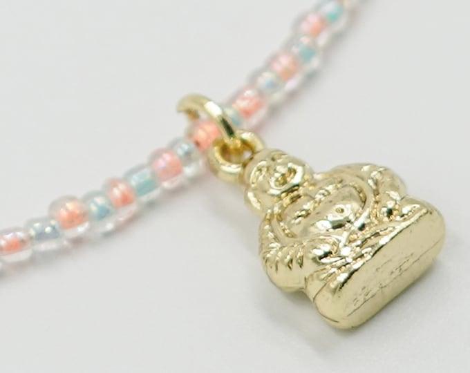 Gold Buddha Blue and Orange Beaded Necklace
