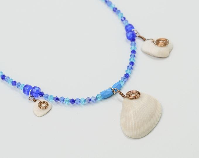 Shell Pendant Ocean Blue Beaded Necklace