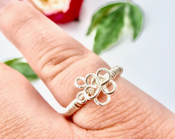 Rings, Silver Rings, Wire Wrapped Rings, Flower Rings, Floral Rings, Birthday Gifts, Jewellery Gifts, Gifts for Her, Bridesmaid Gifts, Gifts