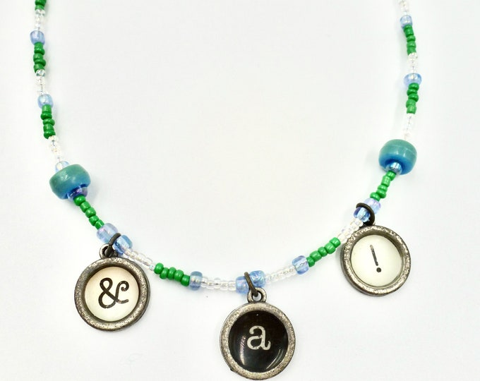 Letter Necklaces, Character Necklaces, Beaded Necklaces, Teal Necklaces, Colourful Necklaces, Birthday Gifts, Gifts for Her, Jewellery Gifts