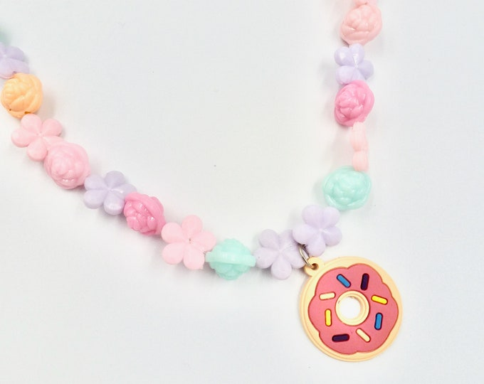 Donut Pendant Beaded Necklace