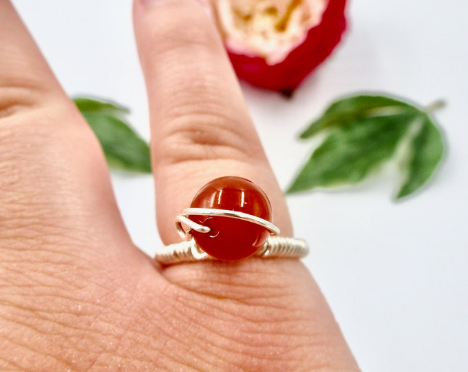 Rings, Silver Rings, Wire Wrapped Rings, Red Agate Rings, Red Rings, Birthday Gifts, Jewellery Gifts, Gifts for Her, Bridesmaid Gifts, Gifts