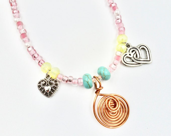 Copper Spiral Heart Pendant Pink Beaded Necklace