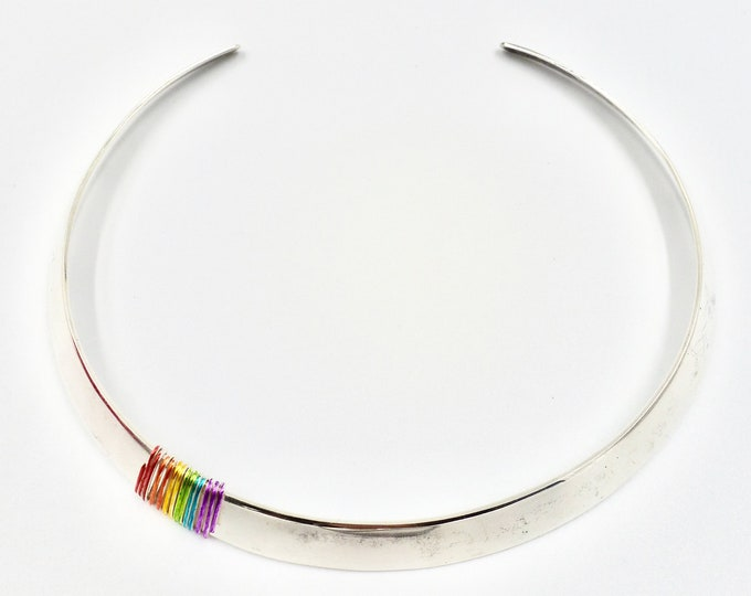 Real Silver Choker Necklace with Rainbow Accent