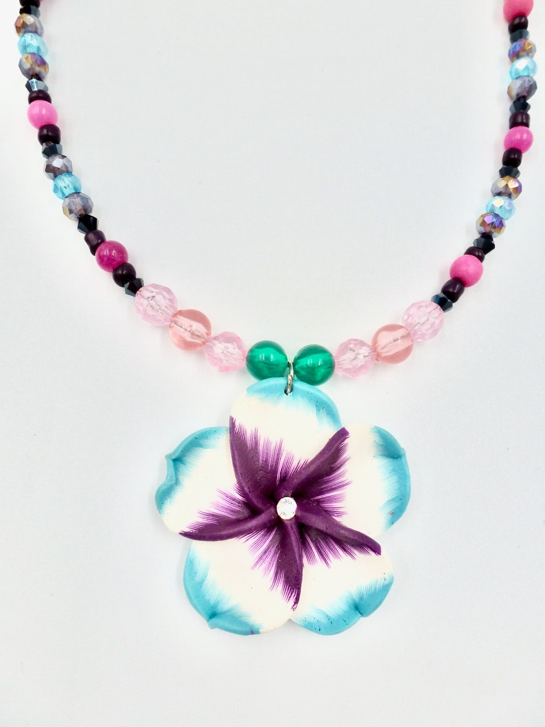 Gifts for Her Birthday Colourful Necklaces Flower Pendant Necklaces Beaded Necklaces Jewellery Gift Purple Necklaces Floral Necklaces